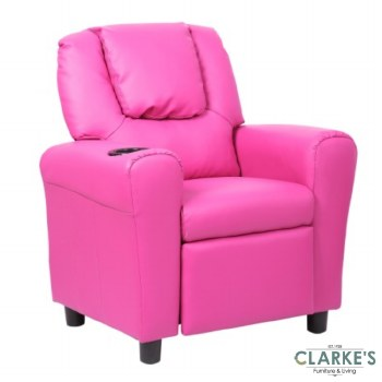 Kids Recliner Chair with Cup Holder Pink
