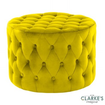 Lobo Deep Buttoned Velvet Footstool Yellow