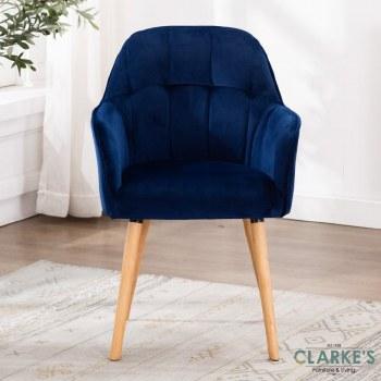 Manhattan blue velvet accent chair
