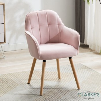 Manhattan pink velvet accent chair