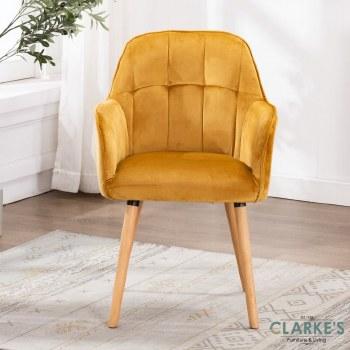 Manhattan mustard velvet accent chair