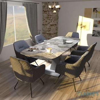 Mirage ceramic dining table set. Extending table and 6 chairs