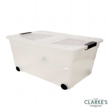 Plastic Storage Box with Centre Hinged Lid 60 Litre