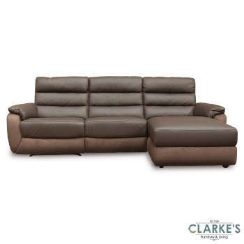 Ritz Leather Corner Sofa RHF Brown