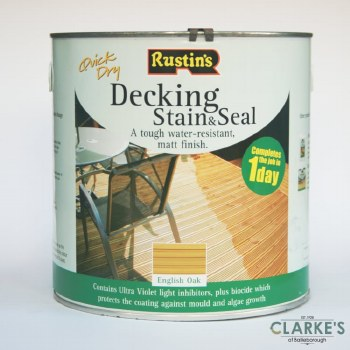 Rustins Decking Stain and Seal English Oak 2.5 Litre