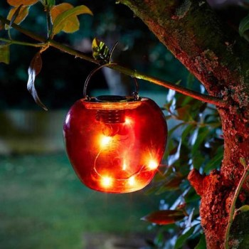 Solar Garden Red Funky Apple Light