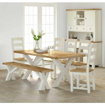 Suffolk Dining Set. Table, 4 Chairs & Bench