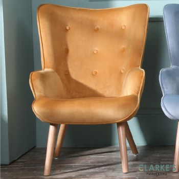 Taylor yellow velvet accent chair