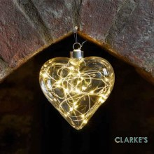 10 Micro LED Christmas Battery CrystaLight Heart Bauble 12cm