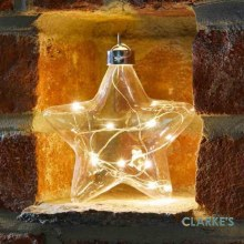 10 Micro LED Christmas Battery CrystaLight Star Bauble 12cm