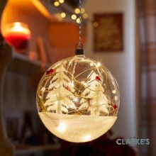 10 Micro LED Christmas Battery Alpine Flask Bauble 15cm