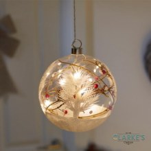 10 Micro LED Cristmas Battery Alpine Orb Bauble 15cm