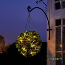 20 LED Battery Holly Ball Outdoor Decoration 30cm