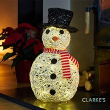 20 LED Battery Sparkly Snowman Christmas Figure 40cm