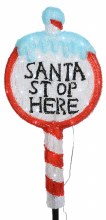 "Lumineo 30 LED (67cm) Christmas ""Santa Stop Here"" Sign Light"