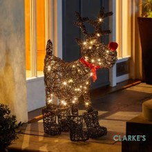 80 LED Battery Sparkly Rudolph Christmas Figure 65cm