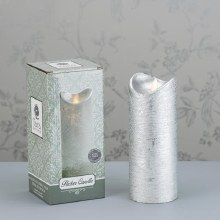 Flicker LED Candle Silver 20x8cm