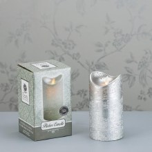 Flicker LED Candle Silver 15x8cm