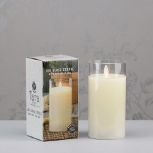 Ivory LED Candle with Glass Tube 15x8cm