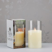 Ivory LED Candle with Glass Tube 20x10cm