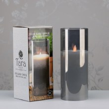 Grey LED Candle with Glass Tube 25x10cm
