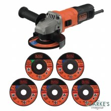 Black & Decker BEG010A5 Angle Grinder with 5 Cutting Discs