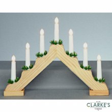 Premier 7 LED (40cm) Wooden Christmas Candle Bridge Battery Operated
