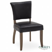 Duke Leather Dining Chair Ink Blue