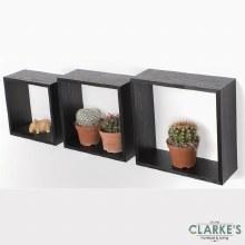 Duraline Cube Shelves Black Oak | Set of 3