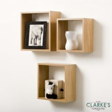 Duraline Cube Shelves Oak | Set of 3