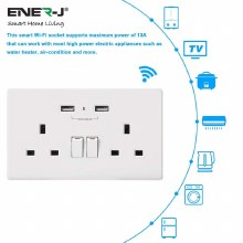 ENER-J Smart Twin Wall Socket with USB Ports