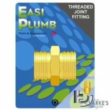 "Easi Plumb 1/2"" Brass Hexagonal Nopple"