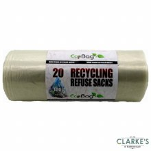 Ecobag Heavy Duty 20 Clear Refuse Sacks 100 Litre