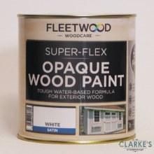 Fleetwood Super-Flex Opaque Wood Paint Satin White 1 Litre