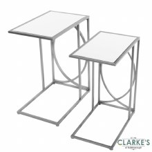 Franklyn Mirrored Side Tables Silver