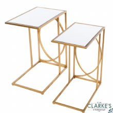 Franklyn Mirrored Side Tables Gold