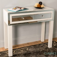 Freya 2 Drawer Mirrored White Console Table