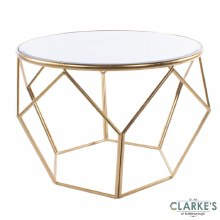 Geometric Large Silver Mirorred End Table