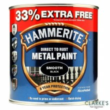 Hammerite Metal Paint Smooth Black 750ml + 33% EXTRA