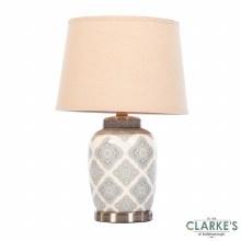 Lia Satin Silver Ceramic Table Lamp 57cm