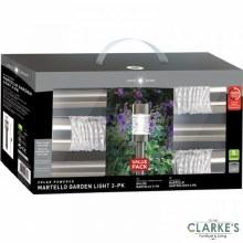 Martello Stainless Steel Solar Stake Lights - 3 Pack