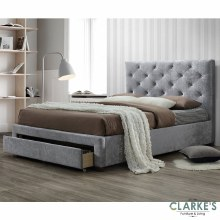 Melania 4ft6 silver bed frame with storage