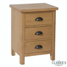 Purdi Oak Bedside Locker with 3 Drawers