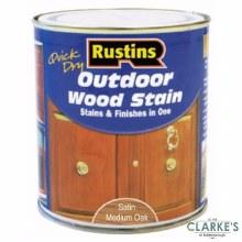 Rustins Outdoor Woodstain Satin Medium Oak 500 ml