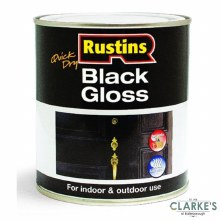 Rustins Quick Dry Black Gloss Paint 1 Litre