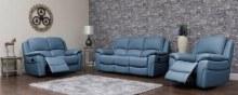 Serena leather sofa sky blue