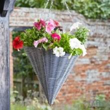 """Slate Cone Hanging Flower Planting Basket 14"""""""