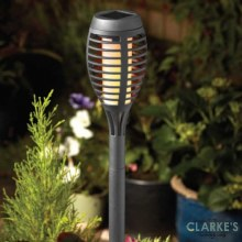 Party Flaming Torch  - Garden Solar Stake Light Slate 47cm