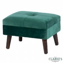 Smooth Velvet Footstool Green with Storage