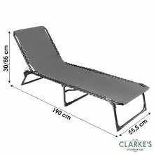 Folding Beach Bed - Sun Lounger Grey